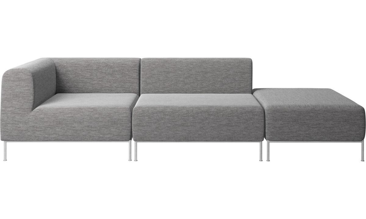 Modular sofas - Miami sofa with pouf on right side - Grey - Fabric