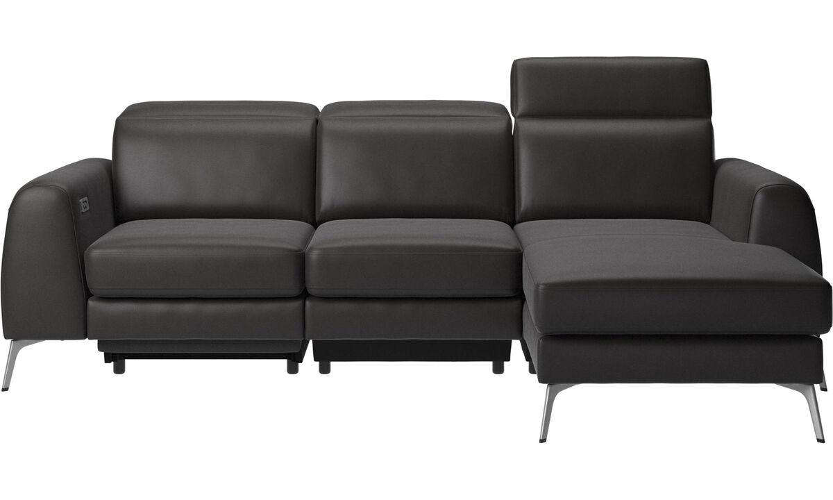 3 seater sofas - Madison sofa with resting unit, and electric seat, head, and foot rest motion (transformer and cable plug-in included) - Black - Leather