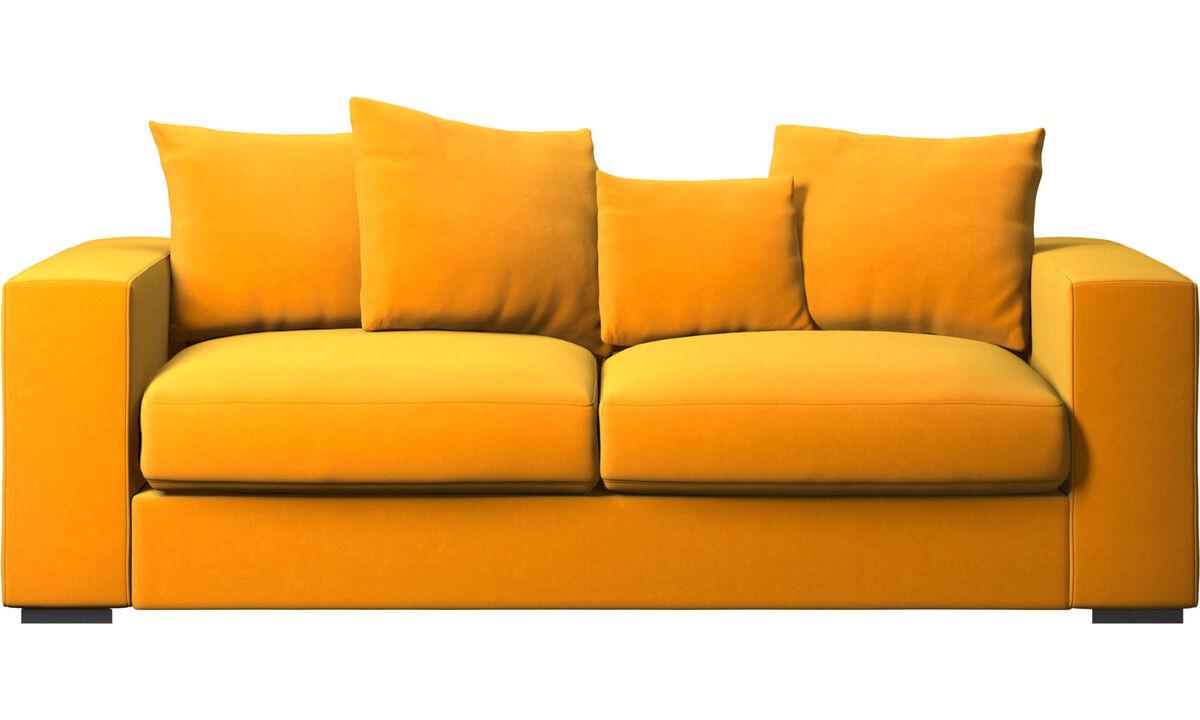 Sofás de 2 plazas y media - sofá Cenova - Naranja - Tela