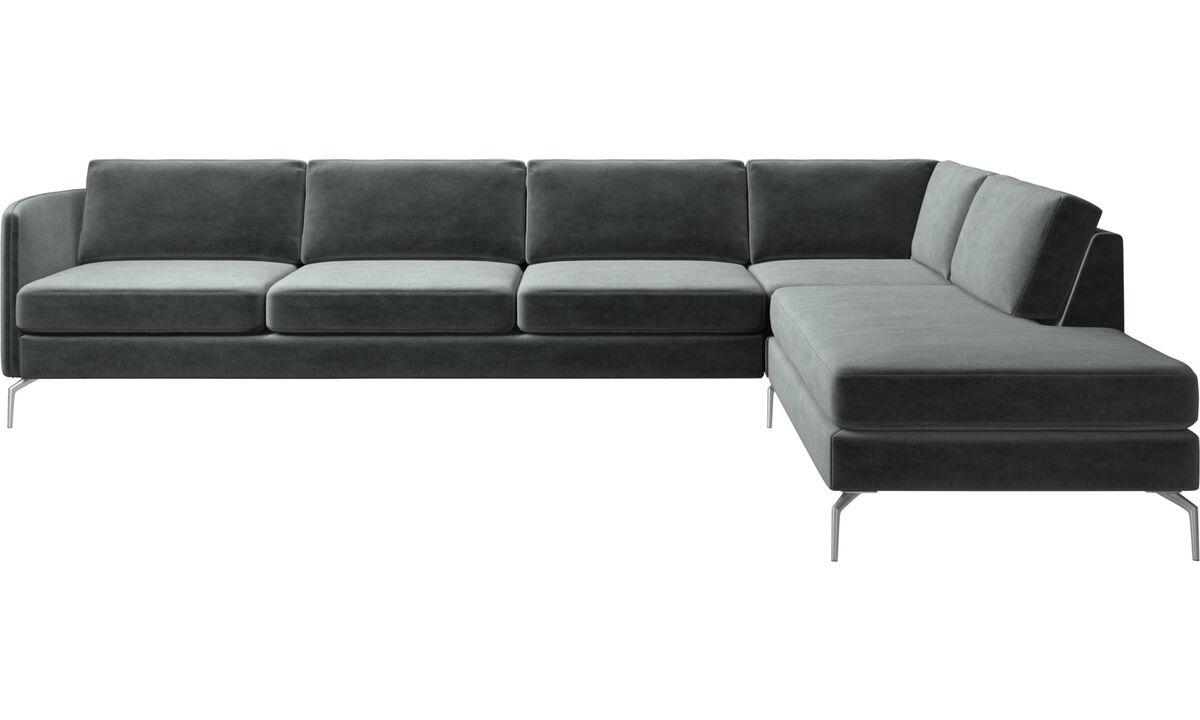 Lounge Suites - Osaka corner sofa with lounging unit, regular seat - Green - Fabric