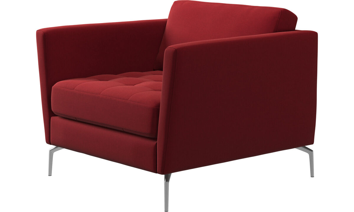 Armchairs - Osaka chair, tufted seat - Red - Fabric