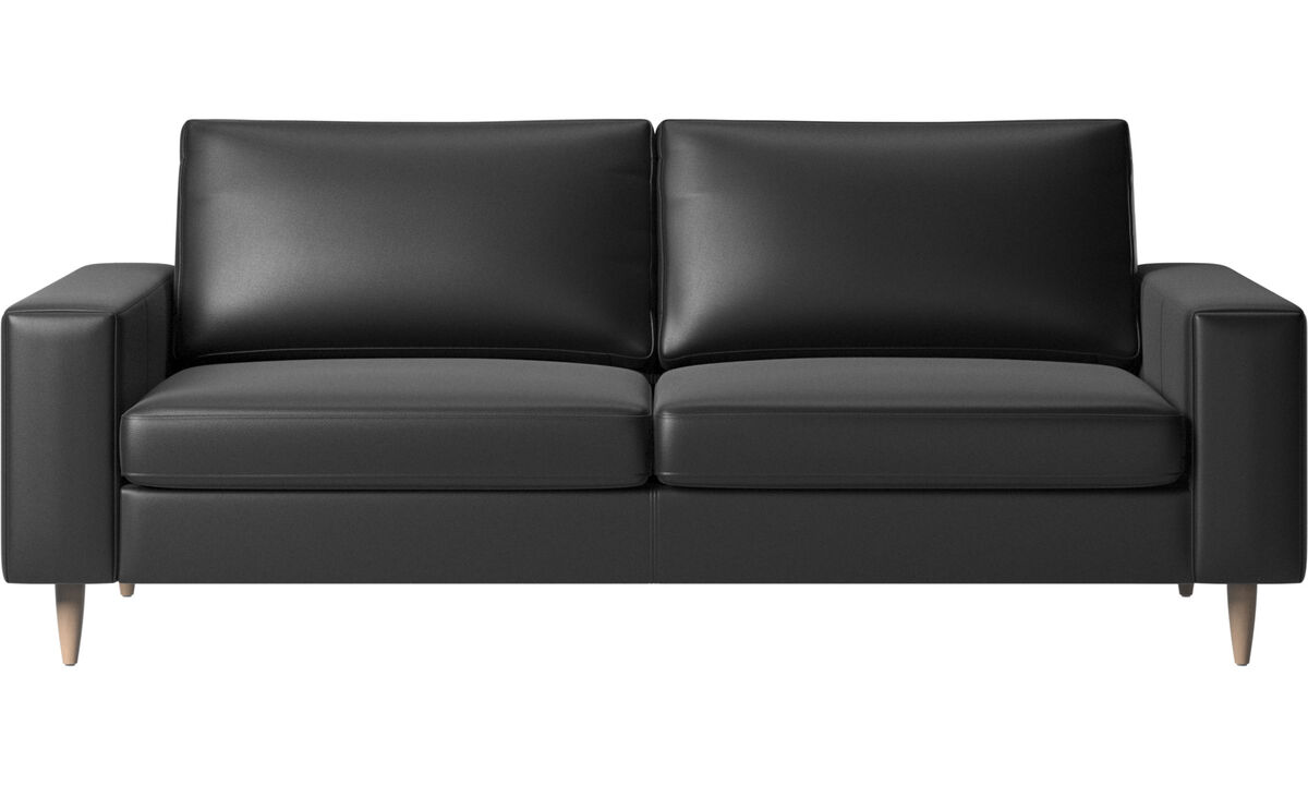 2.5 seater sofas - Indivi 2 sofa - Black - Leather