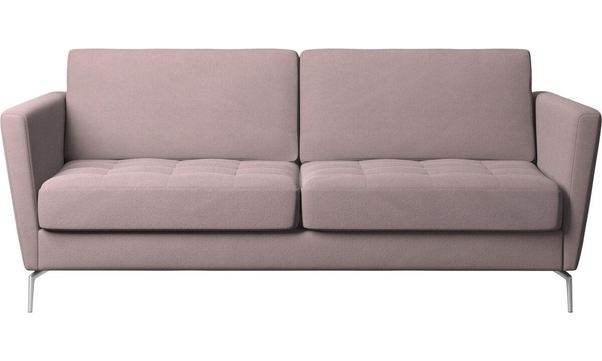 Sofy rozkładane - Sofa Osaka z funkcją spania, pikowane siedzisko - Purpurowy - Tkanina
