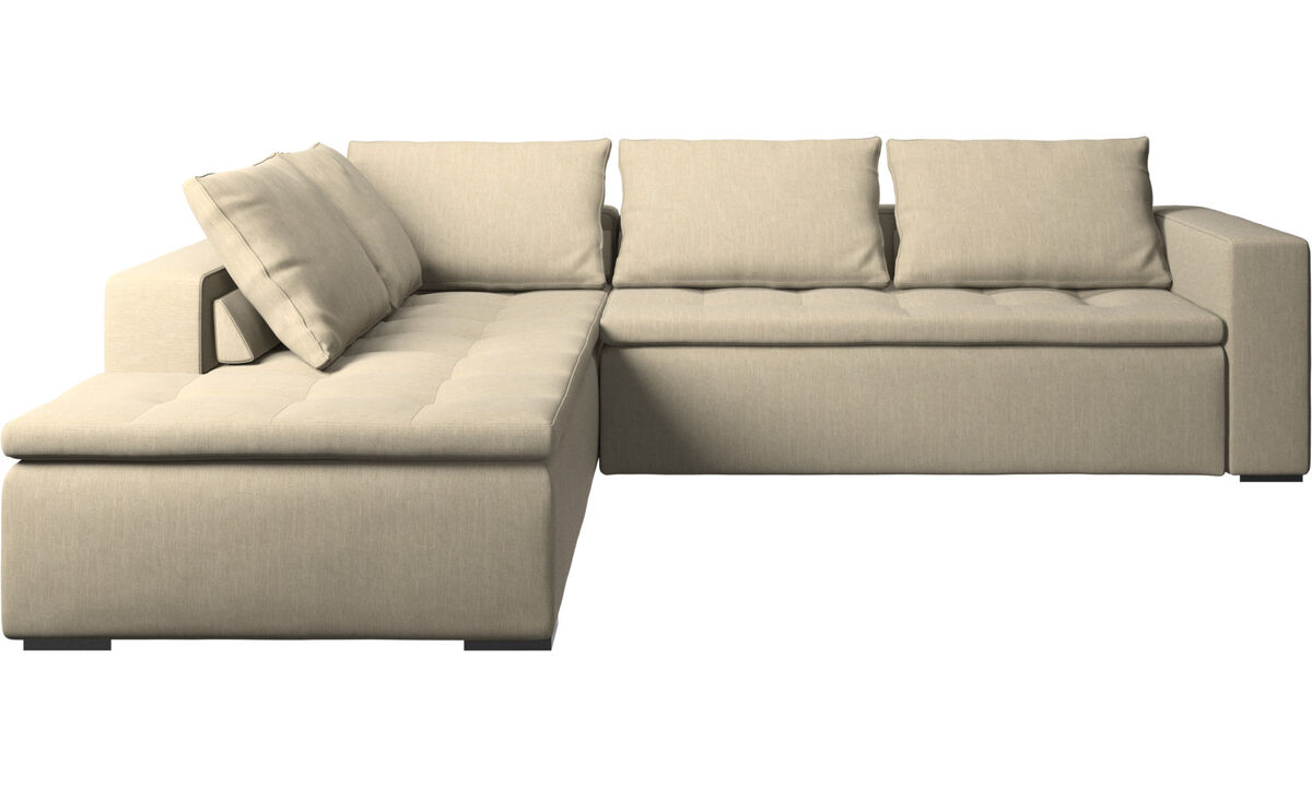 Sofas - Mezzo corner sofa with lounging unit - Brown - Fabric