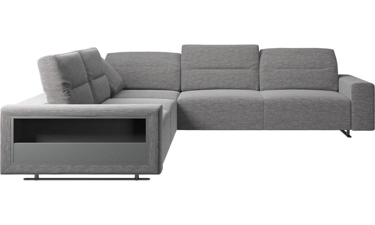 Sofás esquineros - Sofá esquinero Hampton con respaldo ajustable y almacenamiento - En gris - Tela