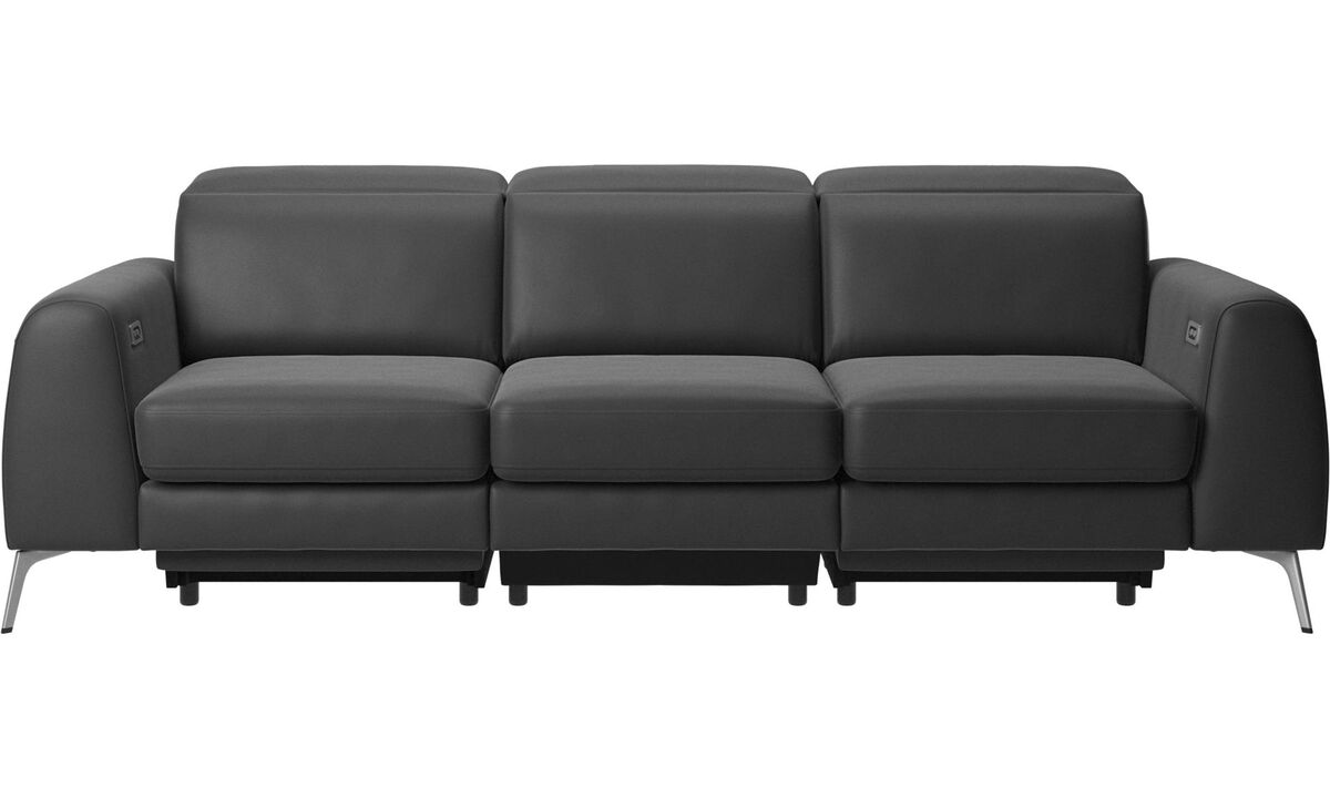3 seater sofas - Madison sofa with electric seat, head and foot rest motion (transformer and cable plug-in included) - Black - Leather