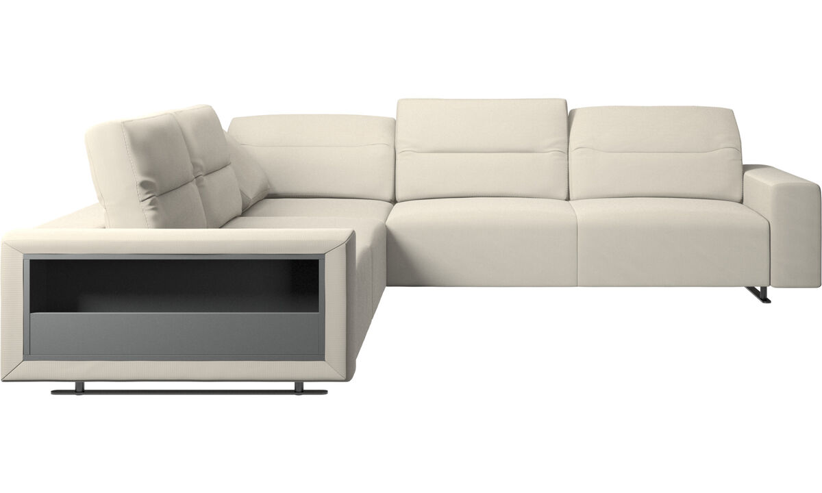 New designs - Hampton corner sofa with adjustable back and storage on left side - White - Fabric
