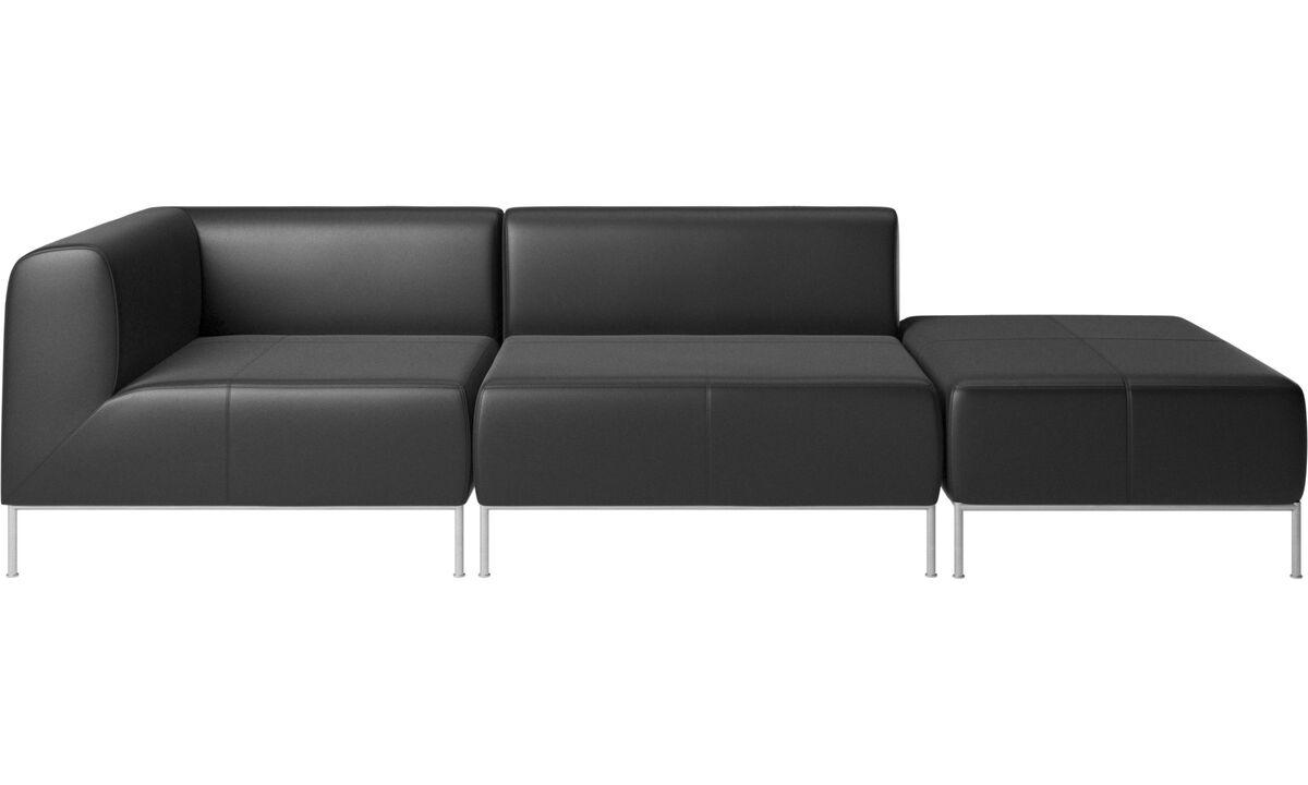 Modulære sofaer - Miami sofa med puf på højre side - Sort - Læder