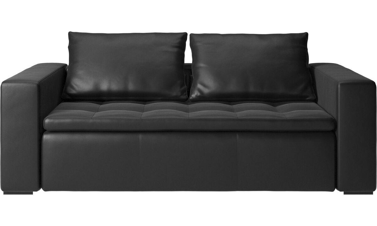 Sofás de 2 plazas y media - Sofá Mezzo - En negro - Piel