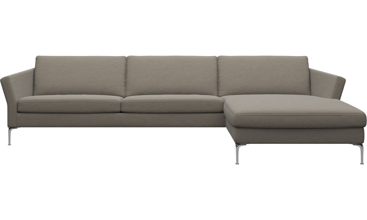 Chaise longue sofas - Marseille 3 seaters with chaise longue sofa, right - Beige - Fabric