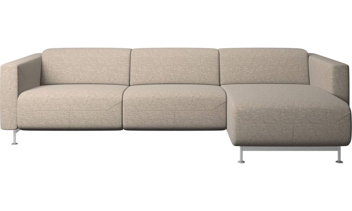 Chaise lounge sofas - Parma reclining sofa with chaise lounge - Beige - Fabric