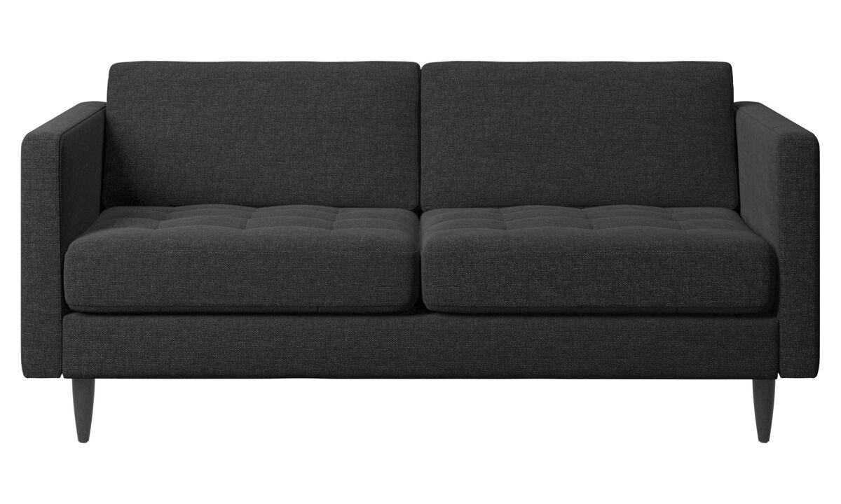 Sofy 2-osobowe - sofa Osaka, pikowane siedzisko - Czarny - Tkanina