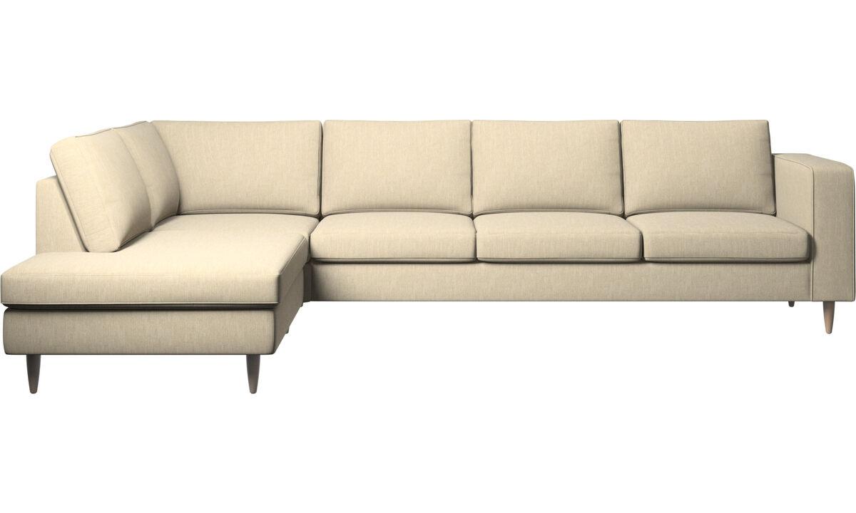 Sofas with open end - Indivi divano ad angolo con modulo relax - Marrone - Tessuto