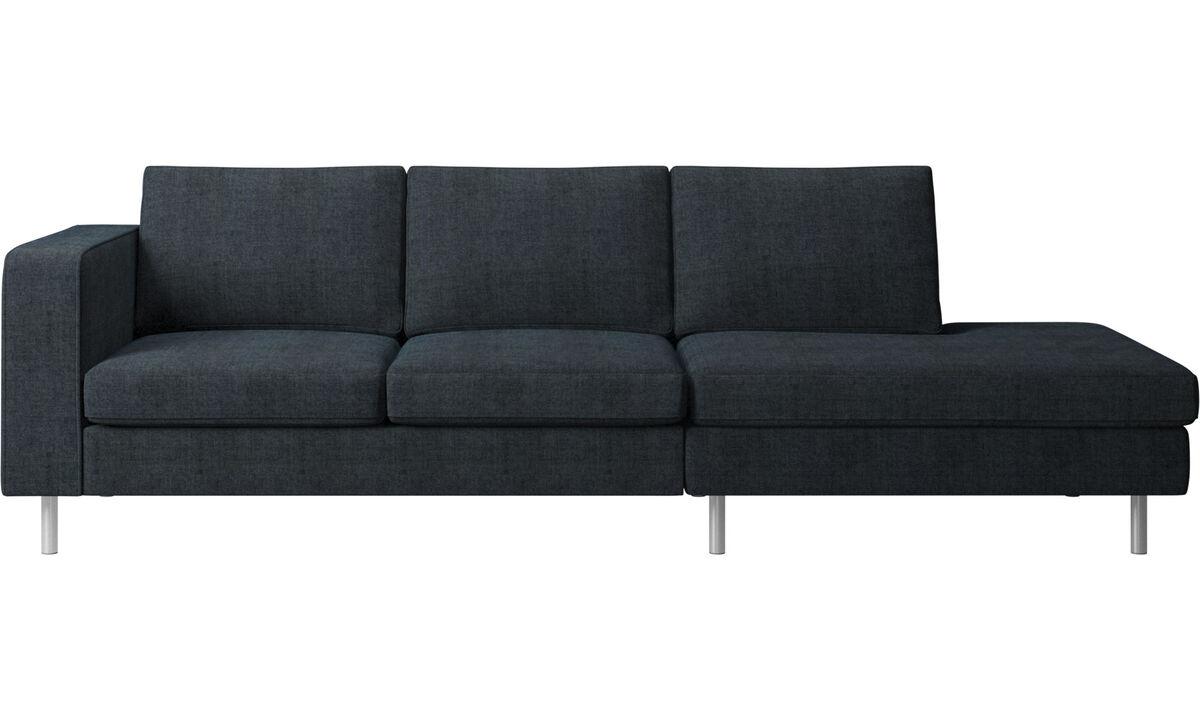 Sofás con lado abierto - sofá Indivi con módulo de descanso - En azul - Tela