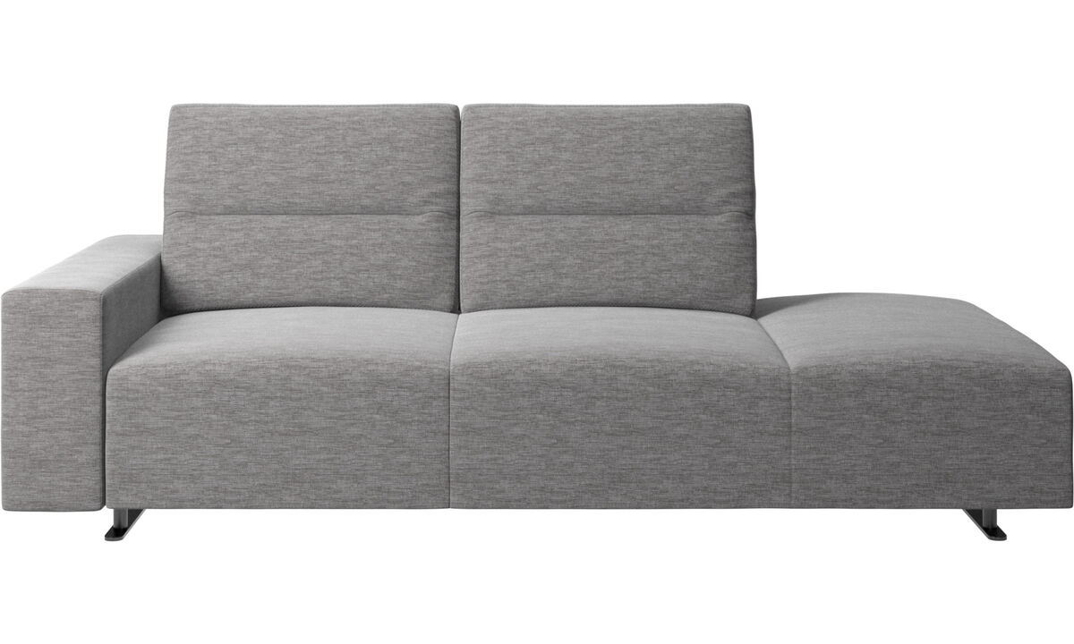 Sofas with open end - Hampton sofa with adjustable back and lounging unit right side, storage and armrest left side - Gray - Fabric