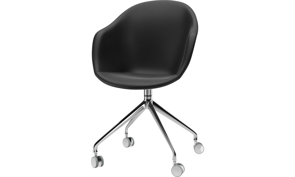 Dining chairs - Adelaide chair with swivel function and wheels - Black - Leather