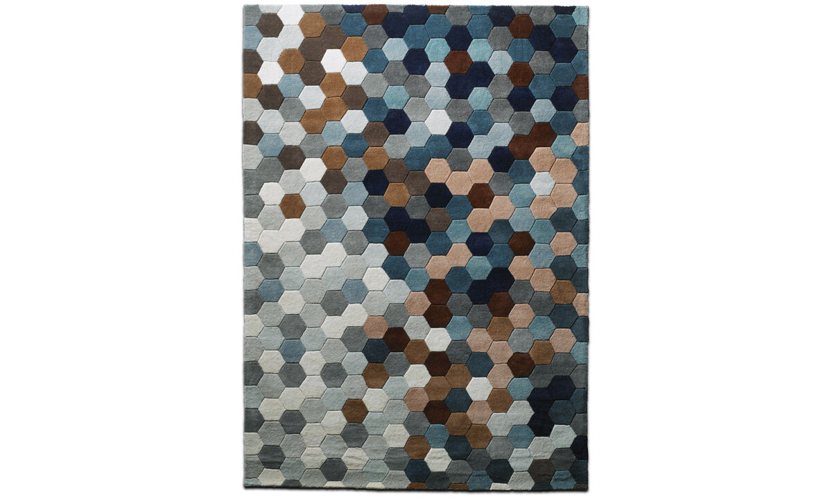 Nye designs - Kaleidoscope rug - rectangular - Blå - Tekstil