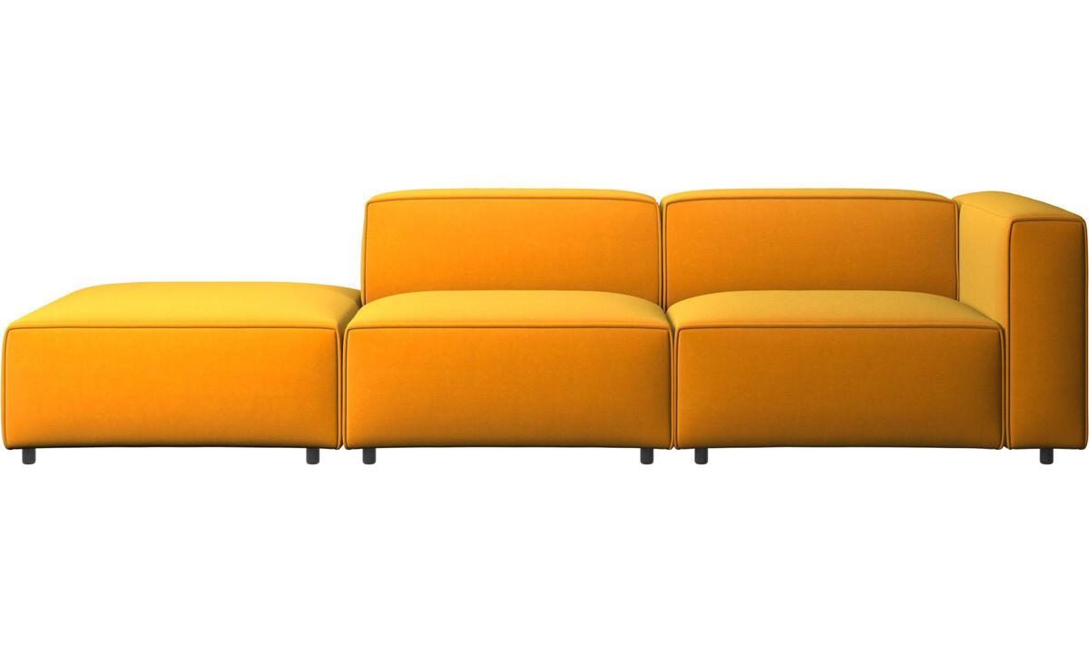 Sofás de 2 plazas - sofá Carmo con módulo de descanso - Naranja - Tela