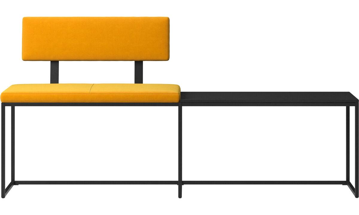Benches - London large bench with cushion, shelf and backrest - Orange - Fabric