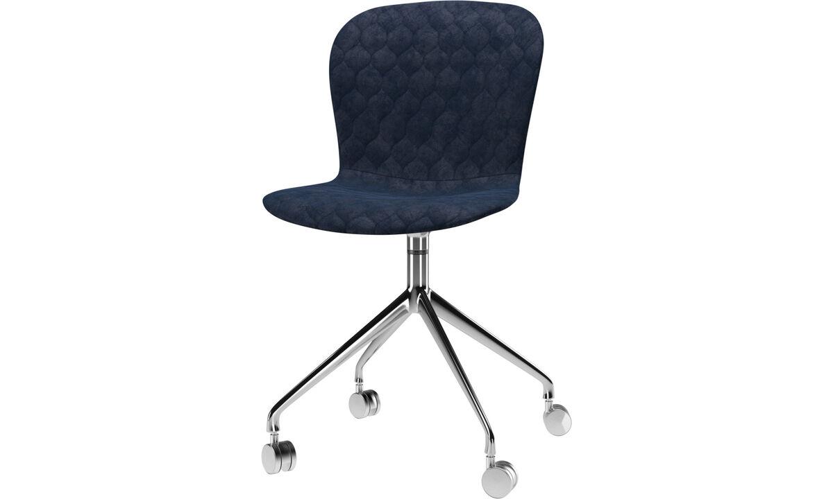 Cadeiras de jantar - Cadeira Adelaide giratória com rodas - Azul - Tecido