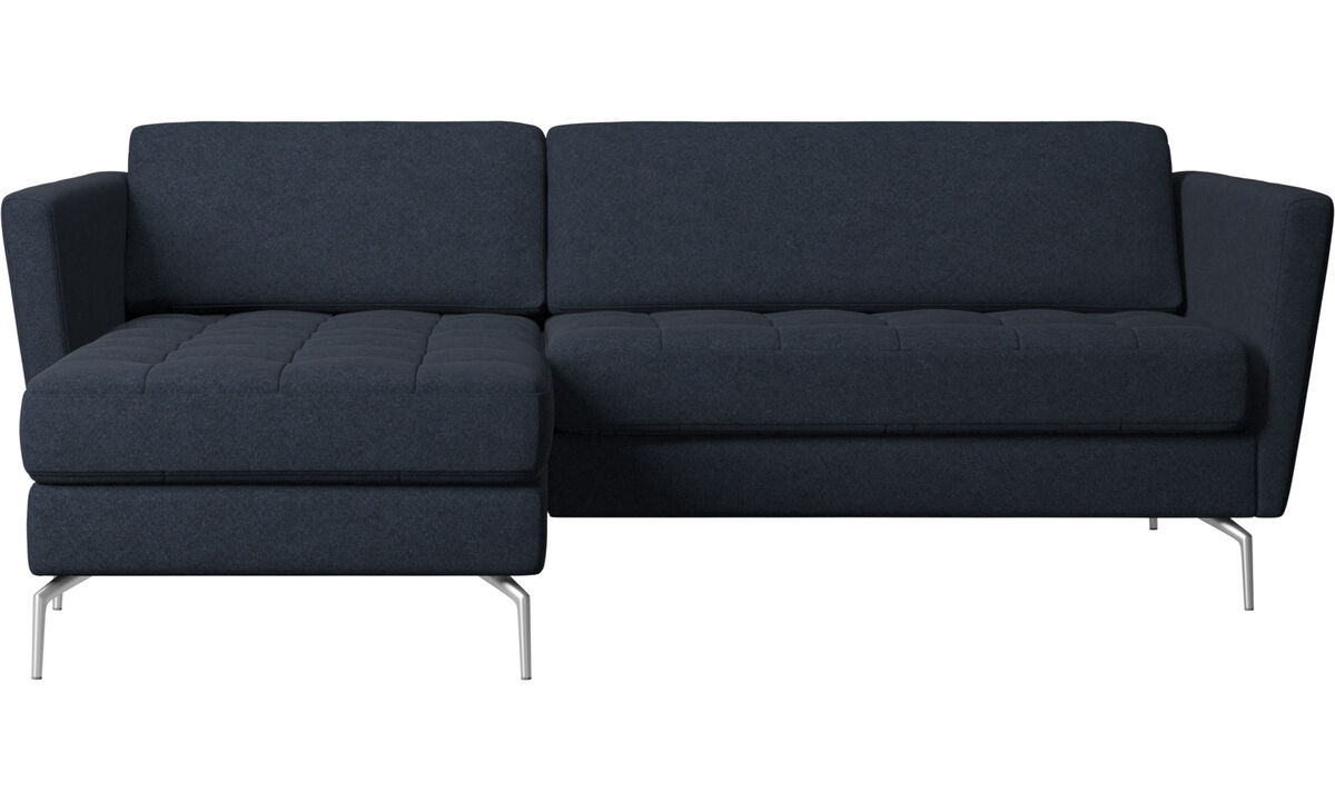 Chaise lounge sofas - Osaka sofa with resting unit, tufted seat - Blue - Fabric