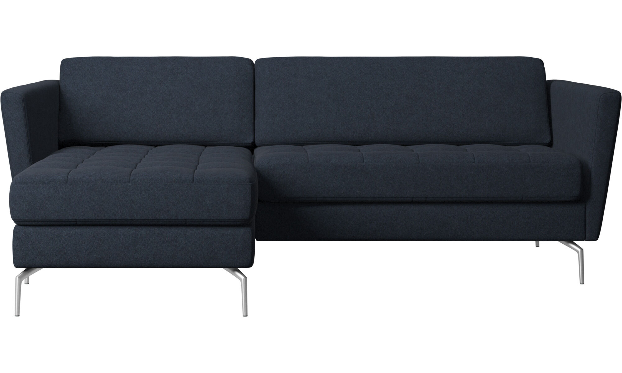 Chaise Lounge Sofas   Osaka Sofa With Resting Unit, Tufted Seat   Blue    Fabric