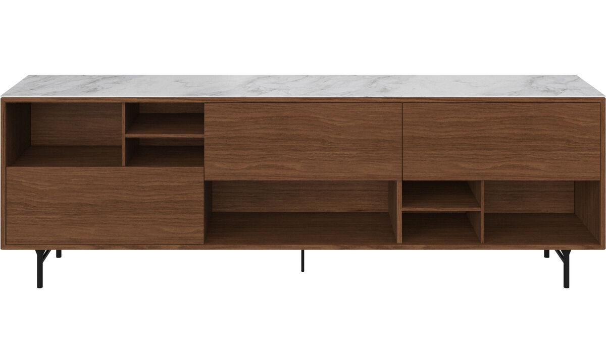 餐边柜 - Manhattan 餐具柜,带顶板 - 白色 - 胡桃木