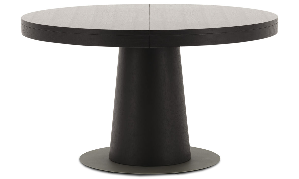 Dining tables - Granada table with supplementary tabletop - round - Black - Oak