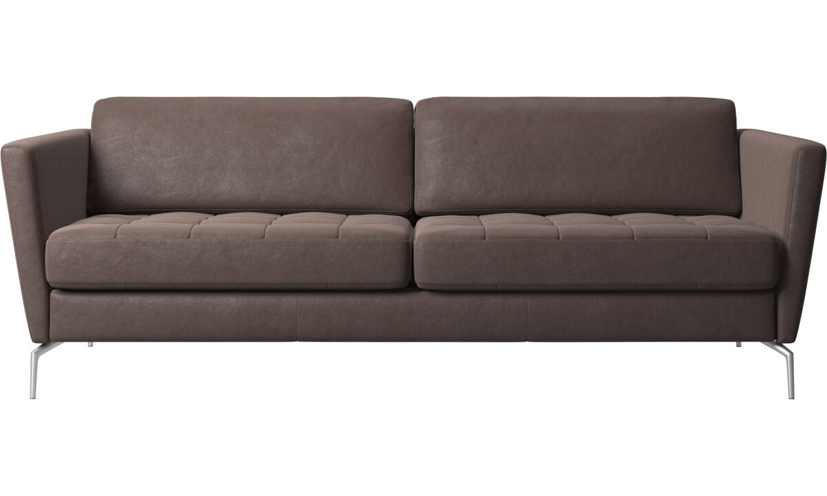2.5 seater sofas - Osaka sofa, tufted seat - Brown - Leather