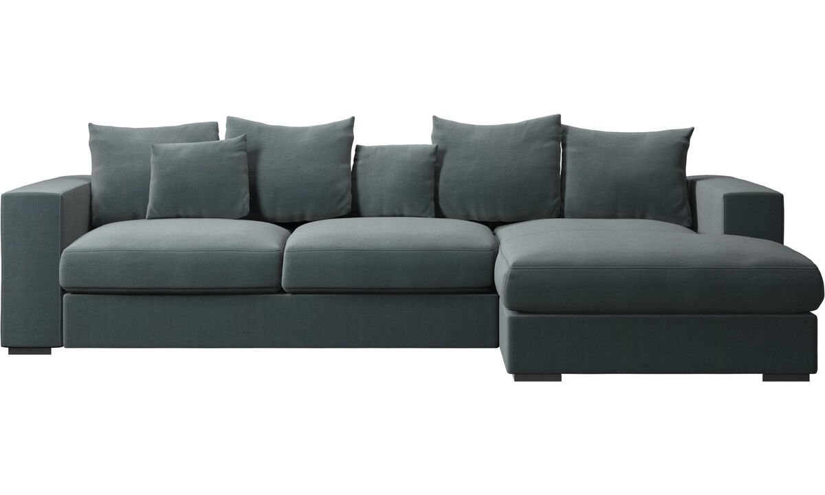 Chaise lounge sofas - Cenova sofa with resting unit - Blue - Fabric