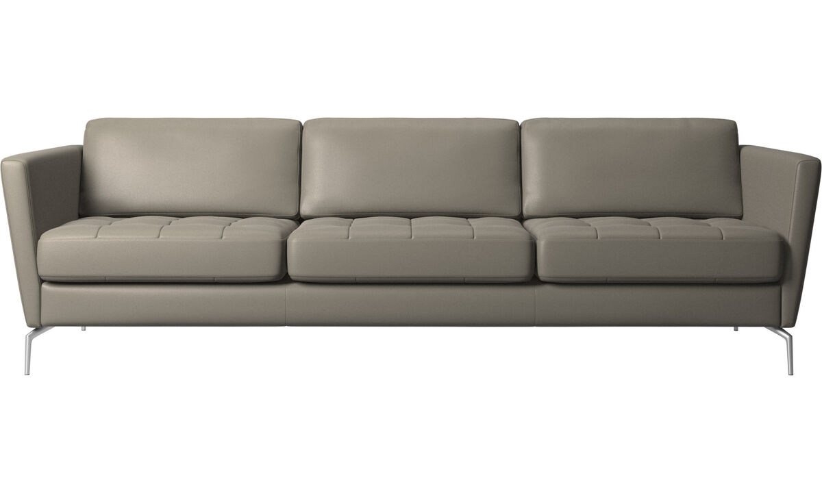 Sofás de 3 plazas - sofá Osaka, asiento capitoné - En gris - Piel
