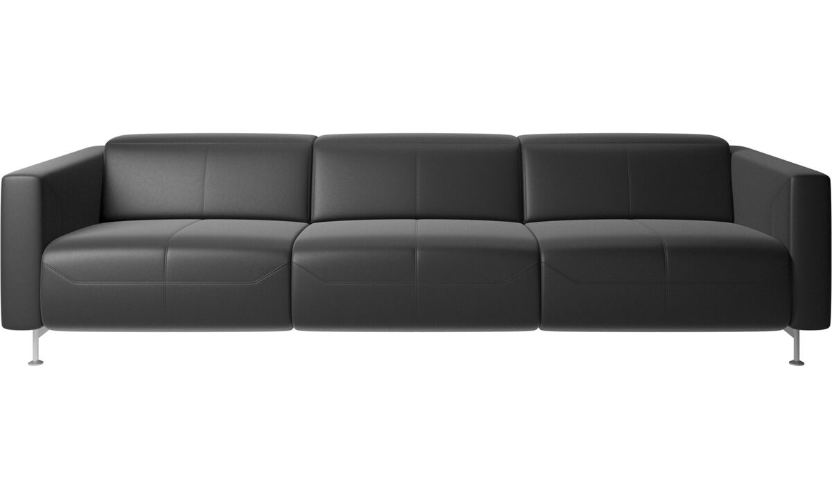 Recliner sofas - Parma reclining sofa - Black - Leather