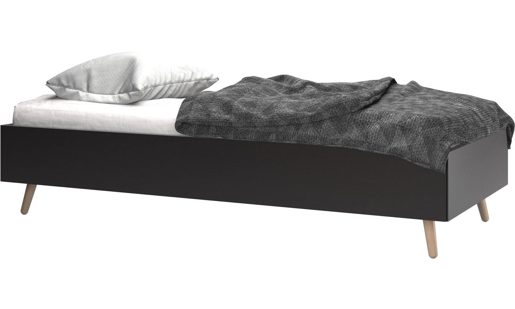 Beds   Lugano Bed, Excl. Mattress   Black   Oak
