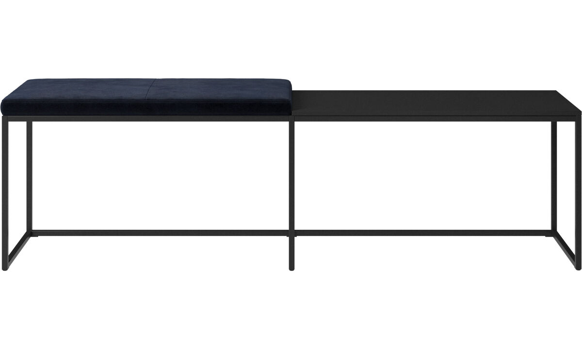 Benches - London large bench with cushion and shelf - Blue - Fabric