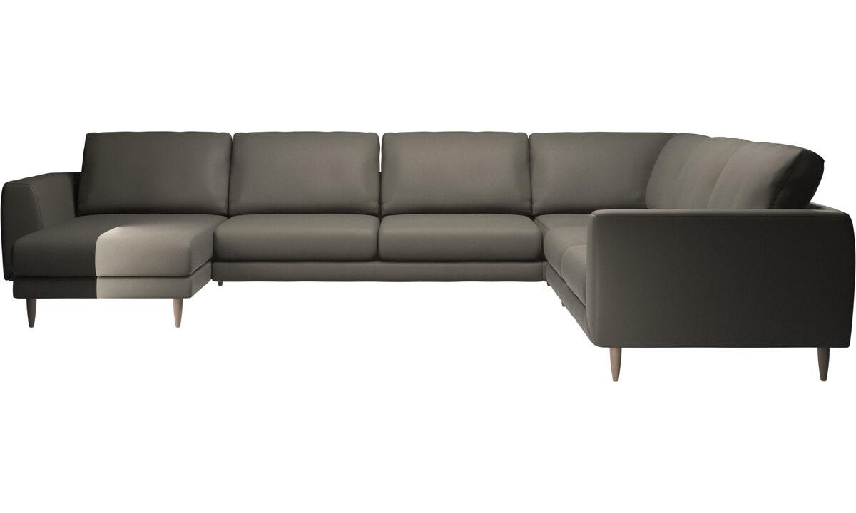 Sofás con chaise longue - sofá esquinero Fargo con módulo chaise-longue - En gris - Piel