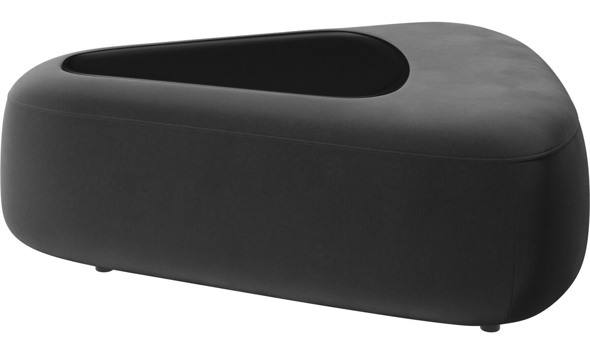 Footstools - Ottawa triangular pouf with tray with USB charger - Black - Fabric