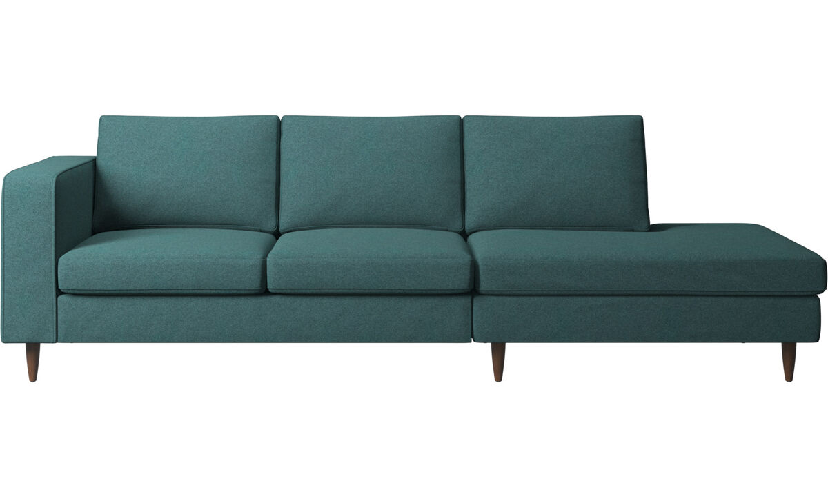 Sofas with open end - Indivi sofa with lounging unit - Green - Fabric