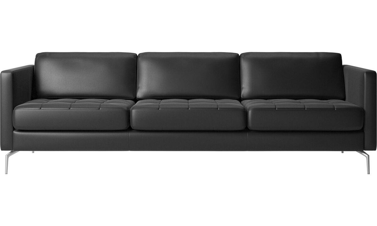 Sofás de 3 plazas - Sofá Osaka, asiento capitoné - En negro - Piel