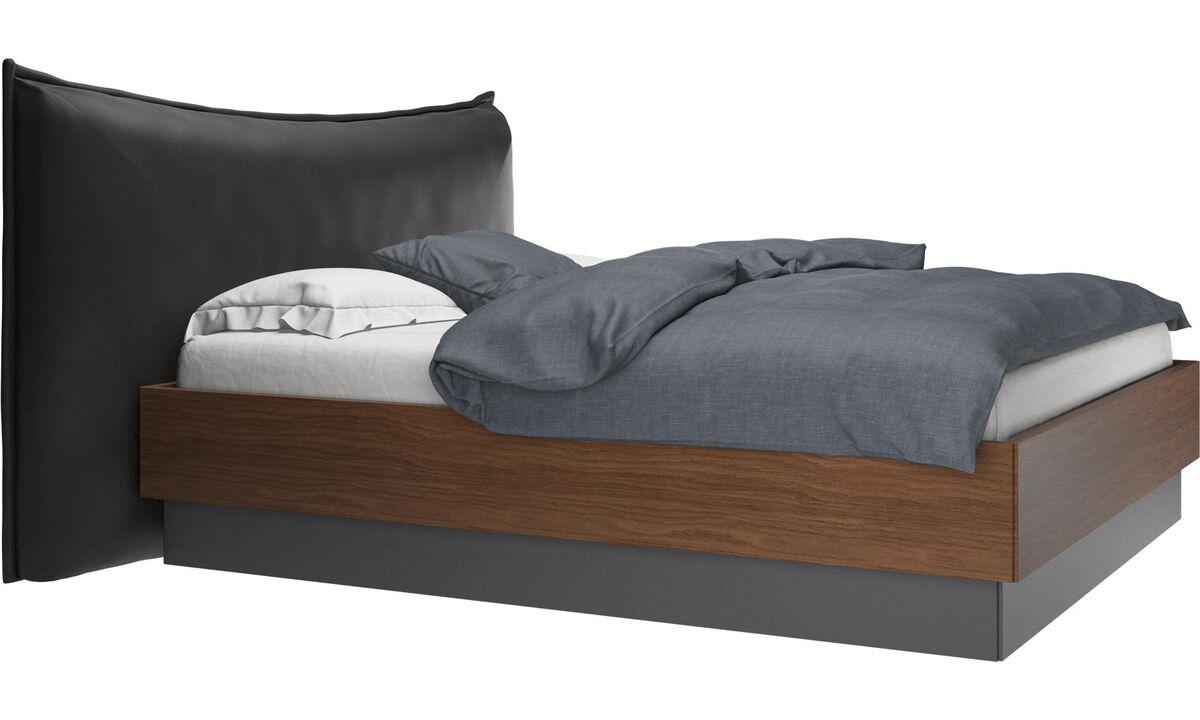 Nuevas camas - cama con canapé, estructura elevable y tablado, no incluye colchón Gent - En negro - Piel