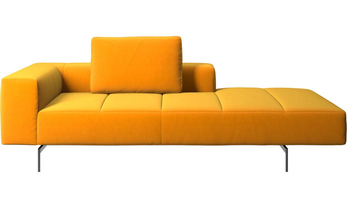 Sofás modulares - Módulo lounge para sofá Amsterdam, reposabrazos izquierdo, lado derecho abierto - Naranja - Tela