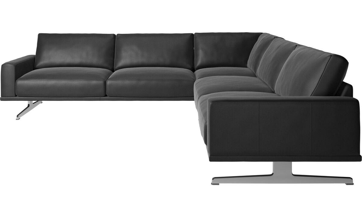 Corner sofas - Carlton corner sofa - Black - Leather