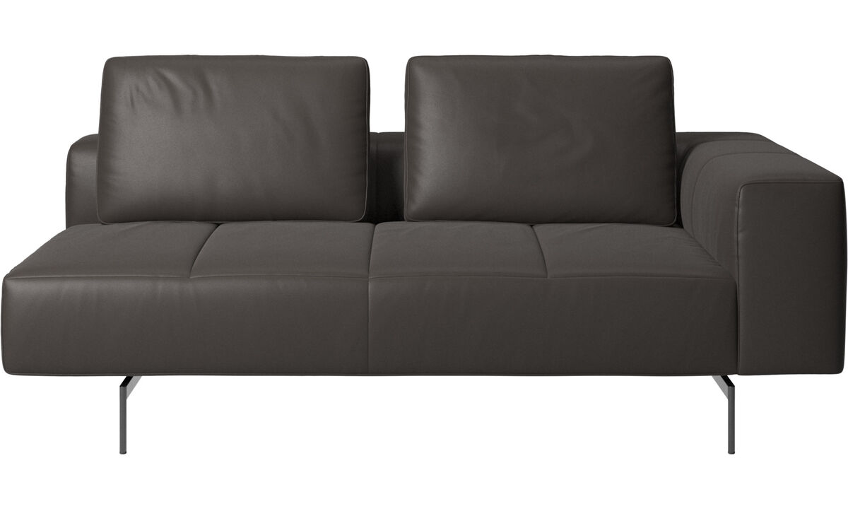2.5 seater sofas - Amsterdam 2.5 seating module, armrest right - Brown - Leather