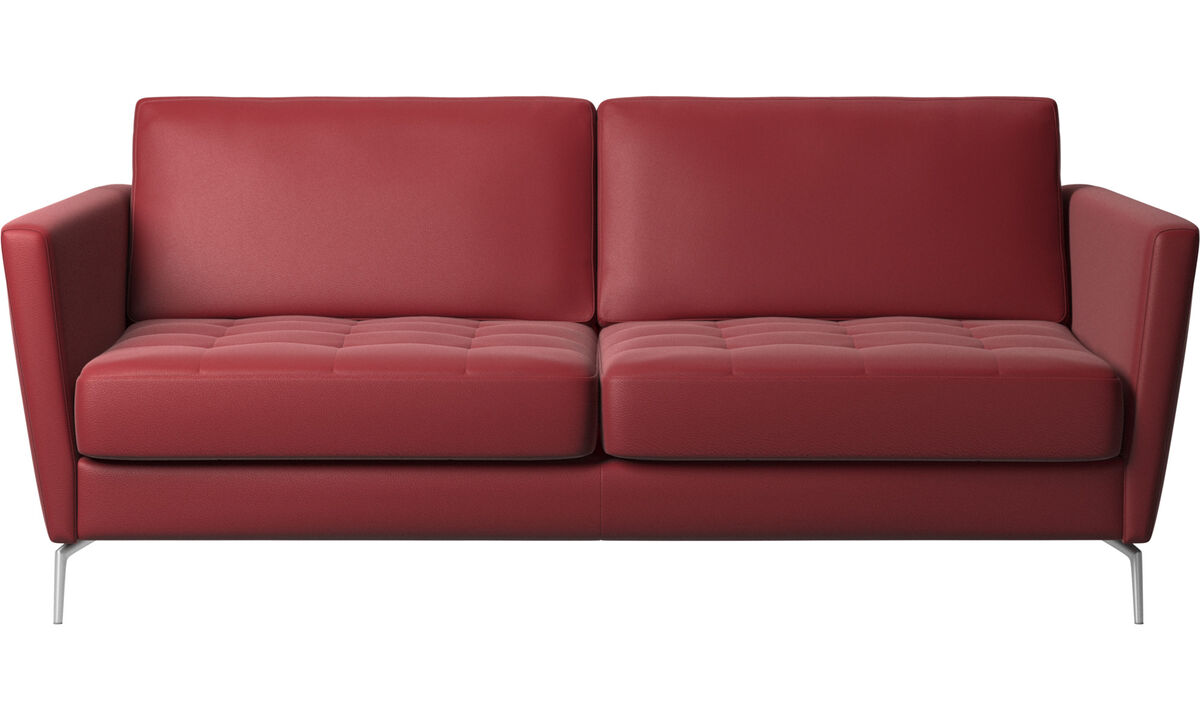 Sofa beds - Osaka sofa bed, tufted seat - Red - Leather