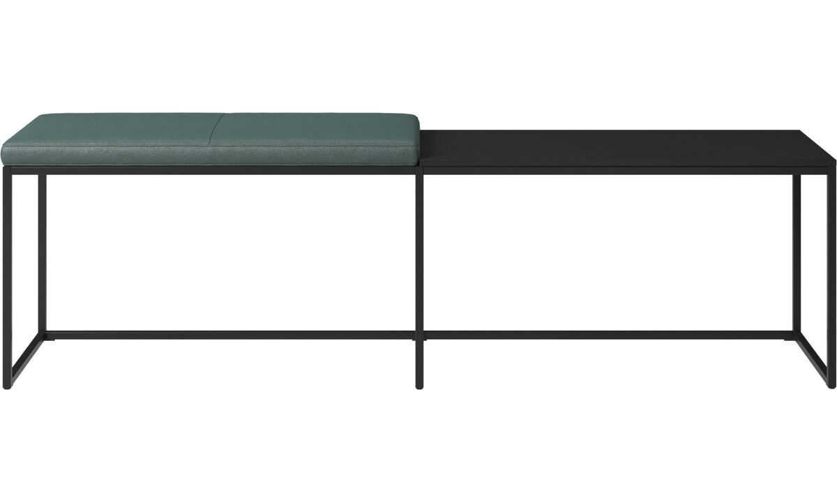 Benches - London large bench with cushion and shelf - Green - Fabric