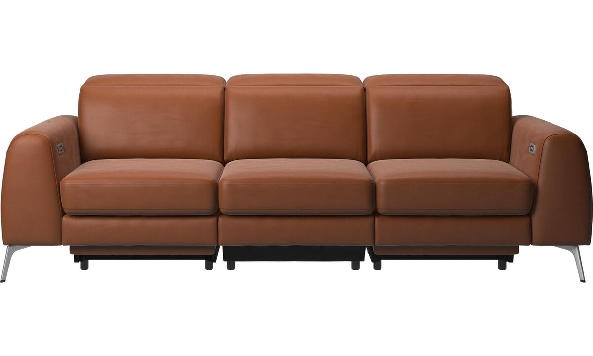 3 seater sofas - Madison sofa with electric seat, head and foot rest motion (transformer and cable plug-in included) - Brown - Leather