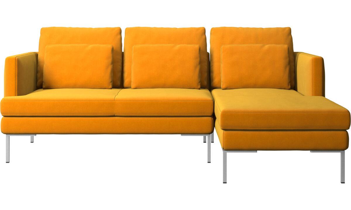 Sofás de 3 plazas - sofá Istra 2 con módulo chaise-longue - Naranja - Tela
