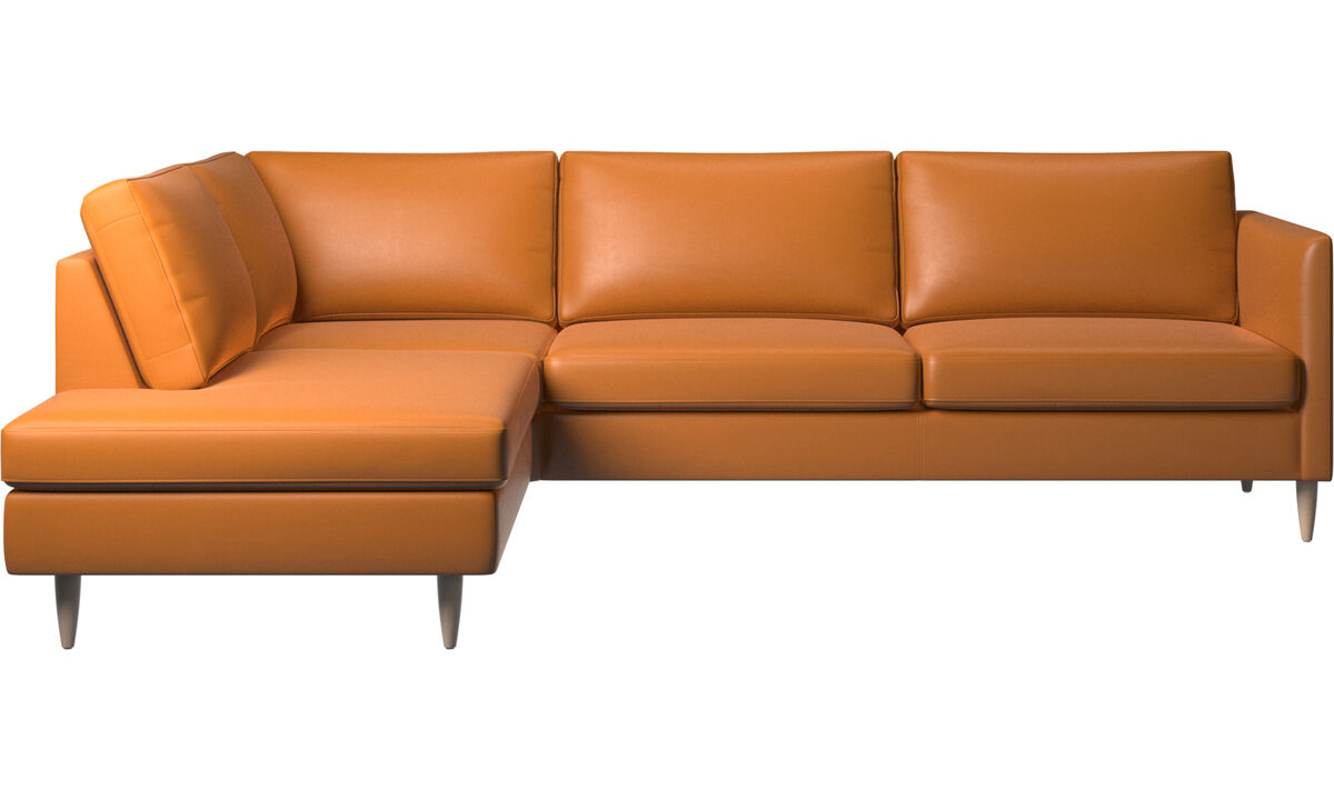 Sofas with open end - Indivi corner sofa with lounging unit - Brown - Leather