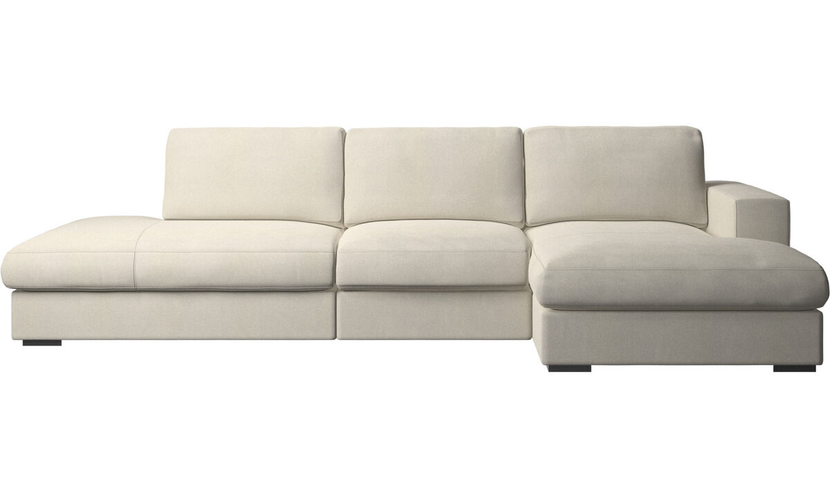 3 seater sofas - Cenova sofa with lounging and resting unit - White - Fabric