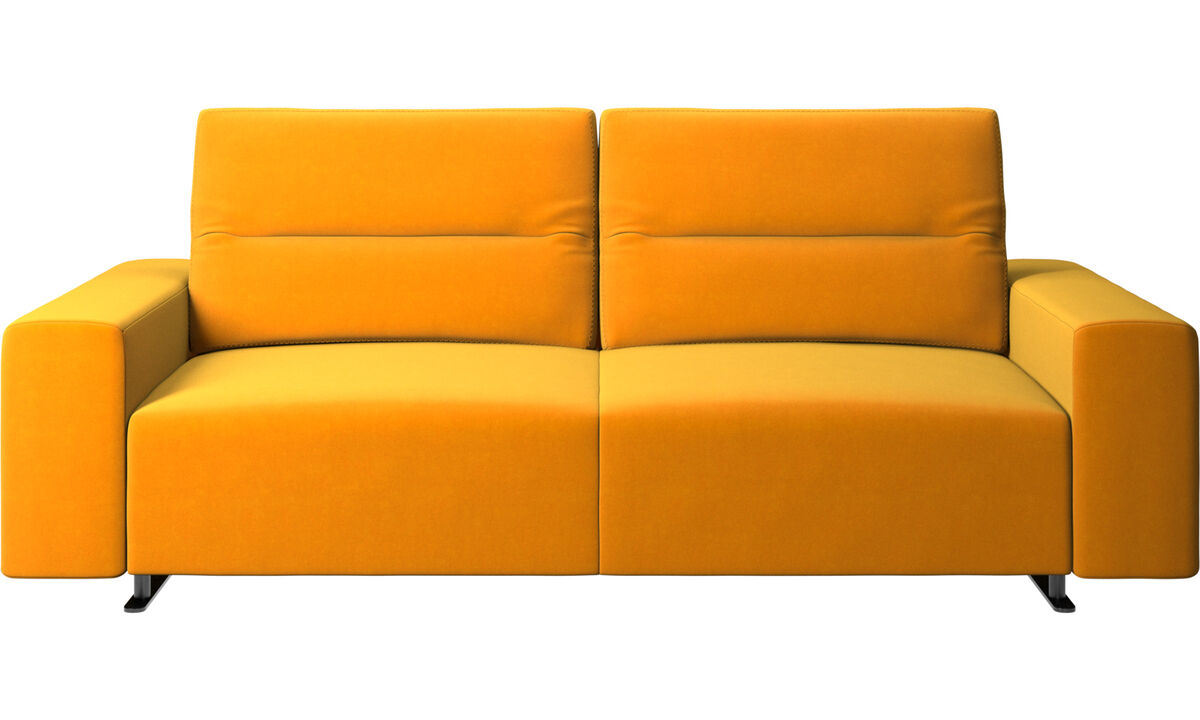 2.5 seater sofas - Hampton sofa with adjustable back and storage on the right side - Orange - Fabric