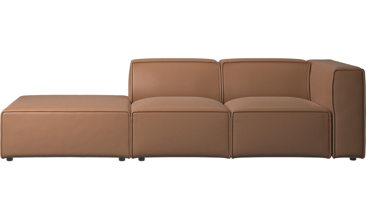 Sofás con lado abierto - Sofá Carmo con movimiento - En marrón - Piel